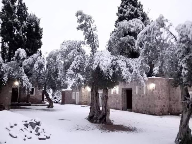 Snow in Saint Catherine Mount in South Sinai , Egypt