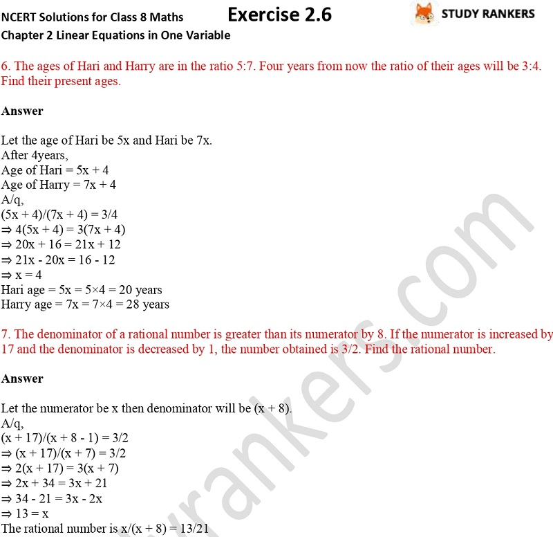 NCERT Solutions for Class 8 Maths Chapter 2 Linear Equations in One Variable Exercise 2.6 Part 2