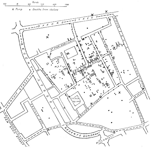 Map of London Cholera epidemic, 1854, by John Snow
