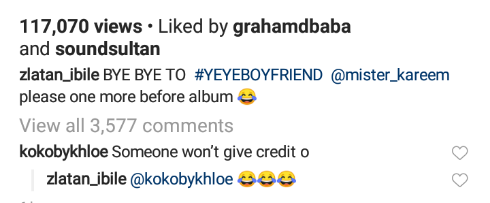 Zlatan to drop New song -YeyeBoyfriend (see snippet)