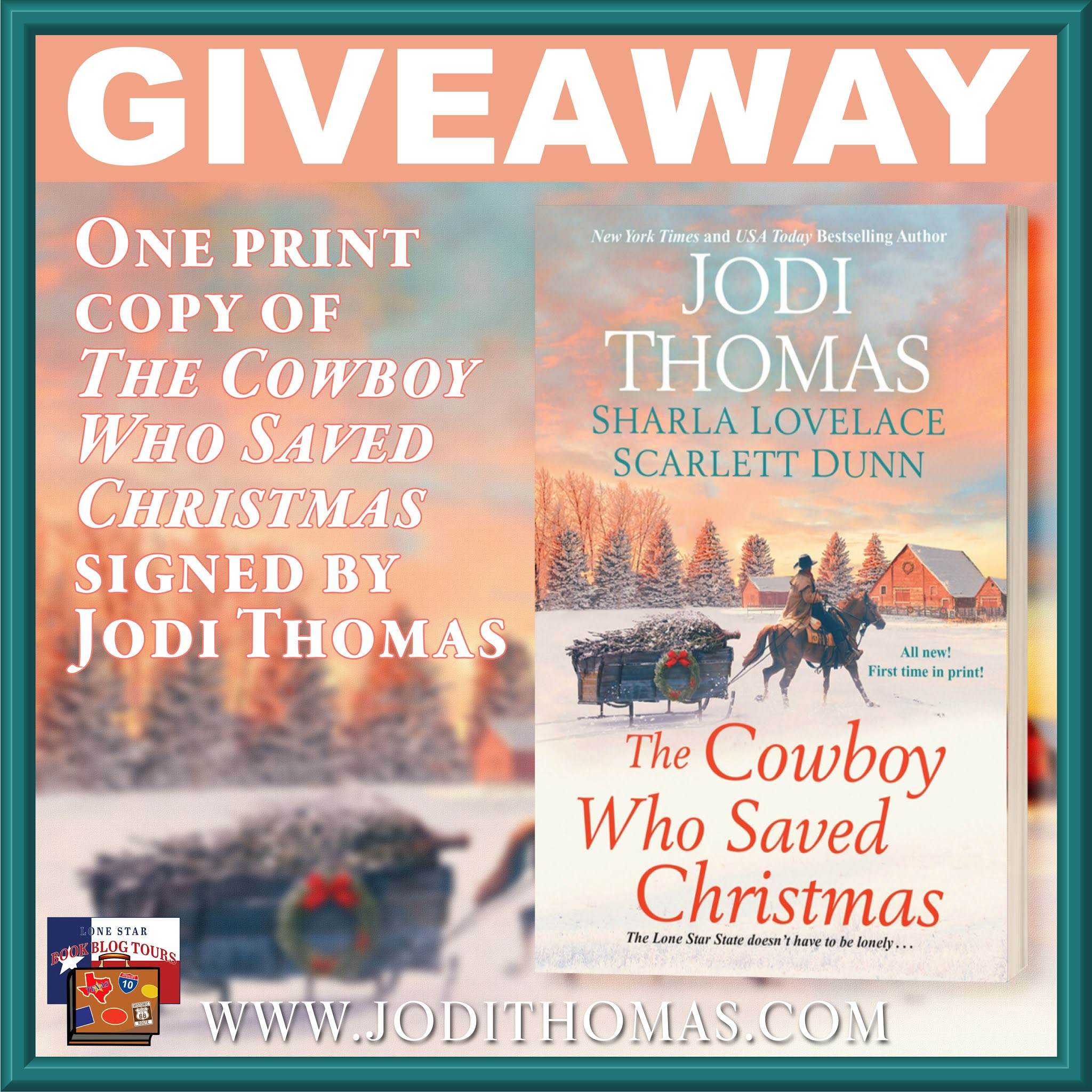 The Cowboy Who Saved Christmas tour giveaway graphic. Prizes to be awarded precede this image in the post text.