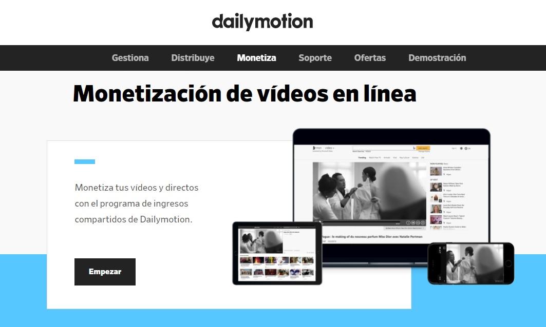 Dailymotion, monetización de vídeos en línea