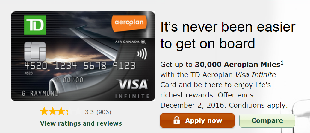 Td Visa Rewards >> Canadian Rewards Td Aeroplan Visa Infinite Card Offer