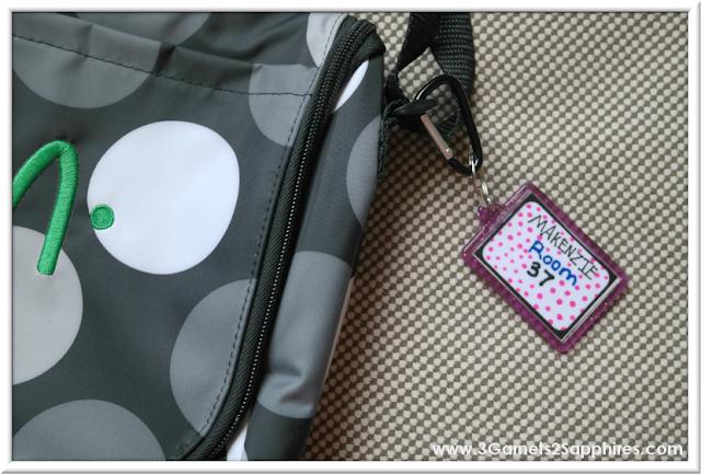 DIY Glitter Bag Tags for Back-to-School  |  3 Garnets & 2 Sapphires
