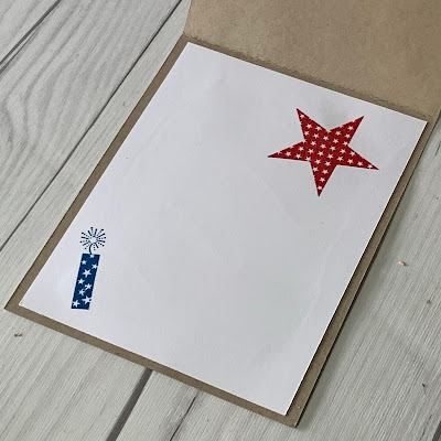 Star and firecracker images on inside of 4th of July Greeting Card