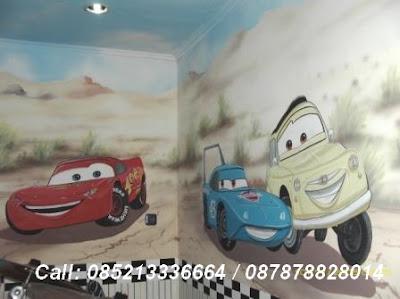 lukis dinding animasi cars