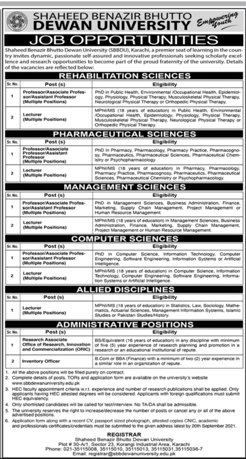 Shaheed Benazir Bhutto Dewan University Karachi Jobs 2021