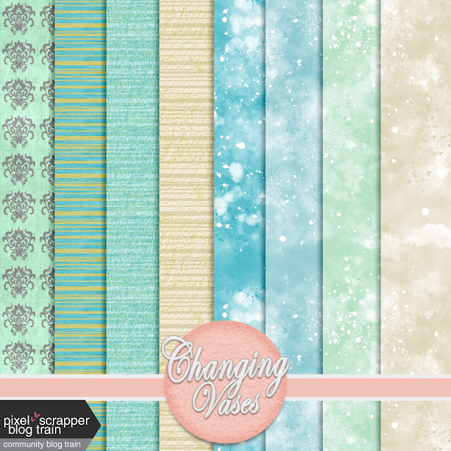 Free Digital Scrapbooking Papers - April 2021 Blog Train by Changing Vases