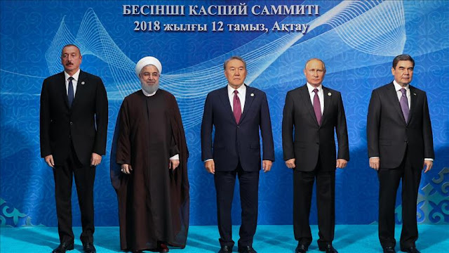 Image Attribute: Participants of the Fifth Caspian Summit. From left to right: President of Azerbaijan Ilham Aliev, President of Iran Hassan Rouhani, President of Kazakhstan Nursultan Nazarbaev, President of Russia Vladimir Putin and President of Turkmenistan Gurbanguly Berdymukhammedov / Date: August 12, 2018, Place: Aktau, Kazakhstan, Source: Anadolu Agency.