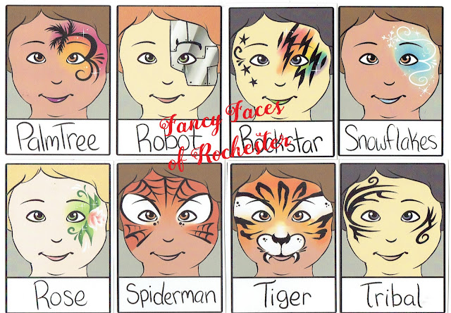 palm tree, robot, rockstar, snowflakes, rose, spiderman, tiger, and tribal face painting designs
