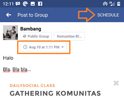 Schedule Post in Facebook Group as Page Numbers
