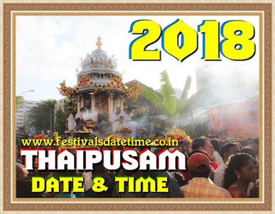 2018 Thaipusam Hindu Festival Date & Time In India