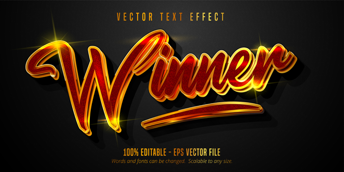 Winner Shiny Gold And Red Color Style Editable Text Effect