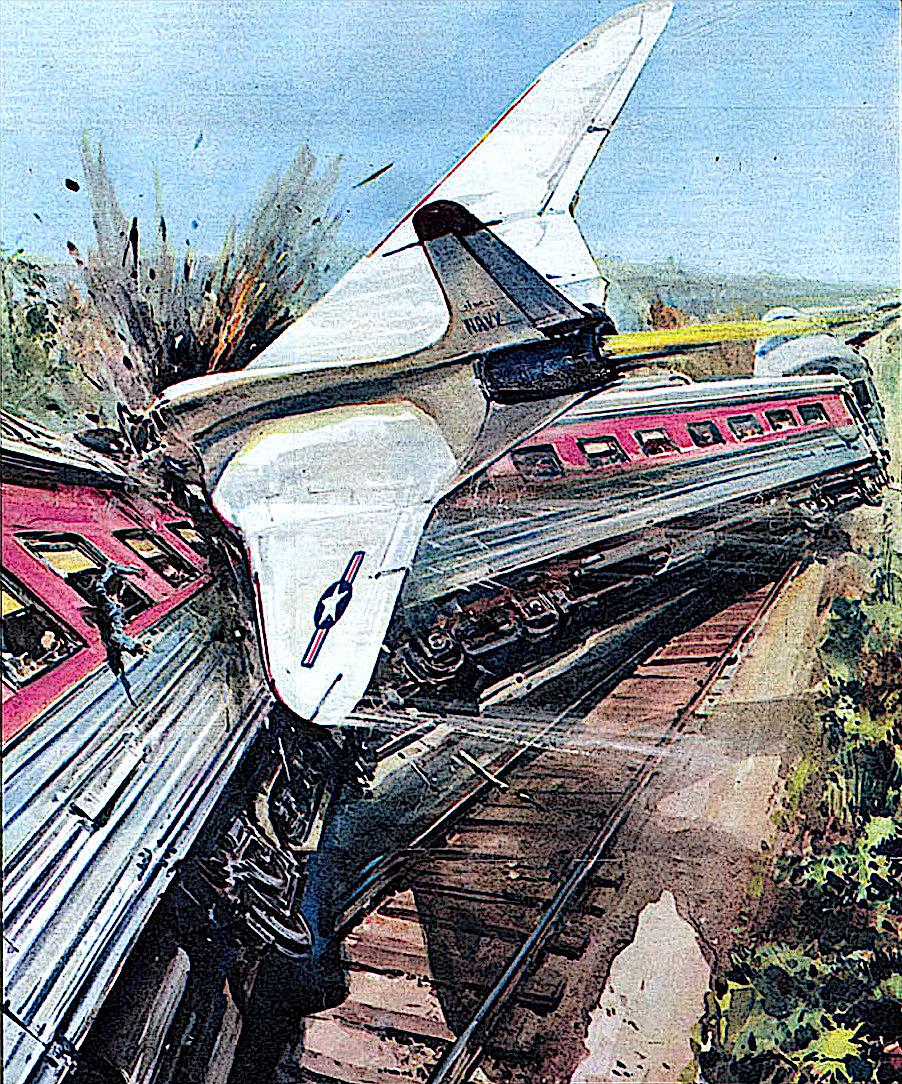 a Walter Molino illustration of a jet crashing into a passenger train