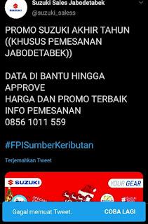 Akun Twitter 'Suzuki_Saless' Posting Tagar #FPISumberKeributan, Dihajar Netizen Akhirnya Ngilang