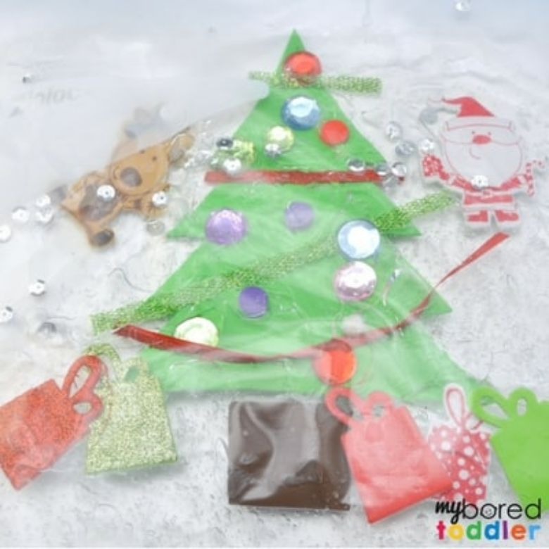 Christmas tree sensory bag for toddlers