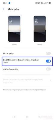 Mode gelap otomatis realme UI