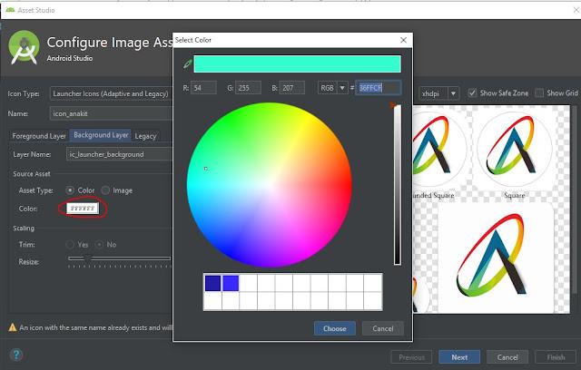 mengganti warna latar icon project android studio