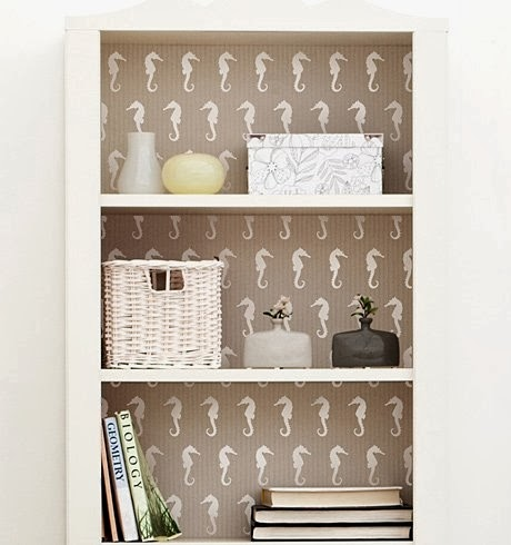 Instead Of Painting The Back A Bookcase Stencil It With Beach Or Nautical Motif