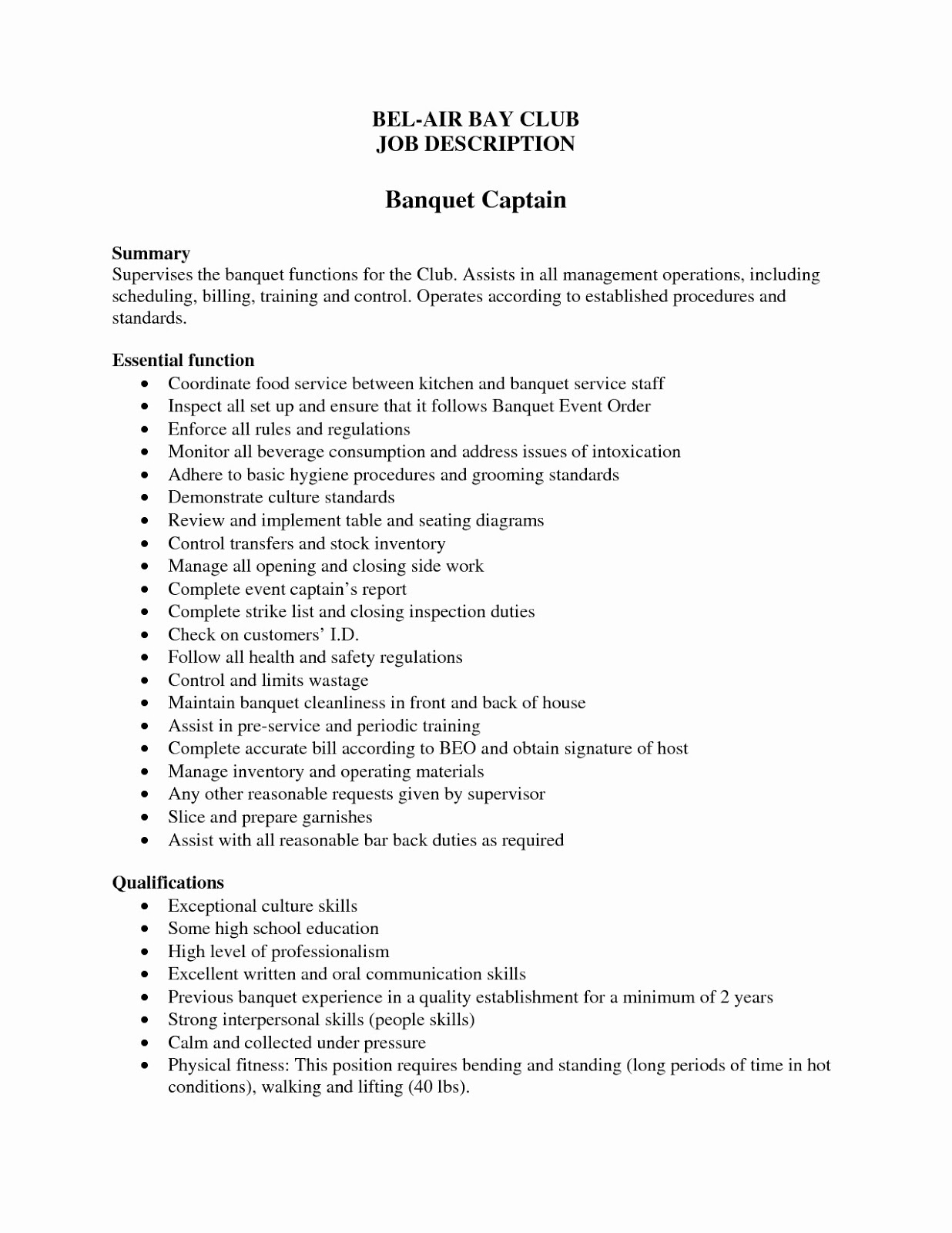 Banquet Captain Resume Samples 2019 Resume Examples 2020 banquet captain resume sample banquet captain duties resume banquet captain resume examples banquet captain job description for resume banquet captain job description resume banquet captain resume objective