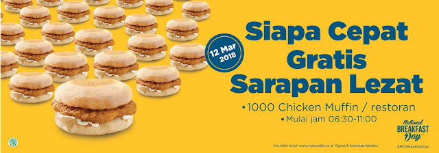 Promo McDonalds Terbaru 1000 Chicken Muffin Gratis Setiap Restoran Periode 12 Maret 2018