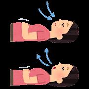 腹式呼吸のイラスト(女性)
