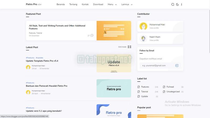 Template Fletro Pro Gratis Premium