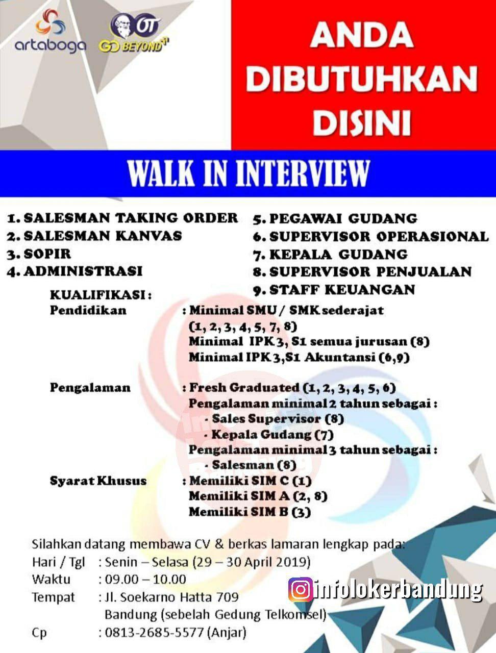 Walk In Interview PT. Artaboga ( Orang Tua Group) Senin-Selasa 29 - 30 April 2019