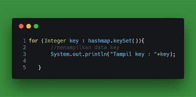 Contoh perulangan for pada HashMap java