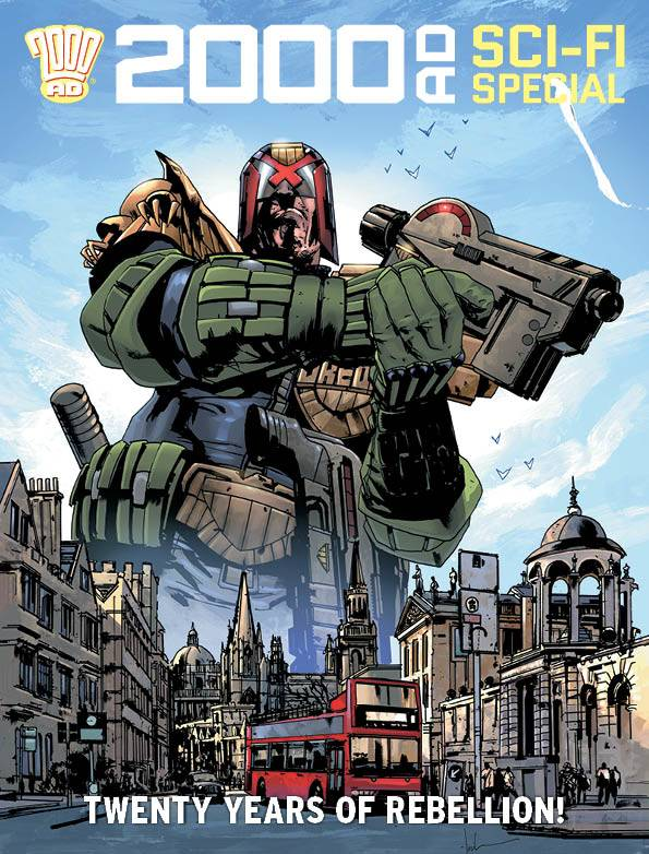 Dredd wielding Lawmaker looms over London townscape and red bus