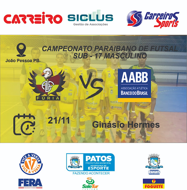 AABB – Patos enfrenta a equipe do Fúria da capital no campeonato paraibano de futsal masculino sub-17