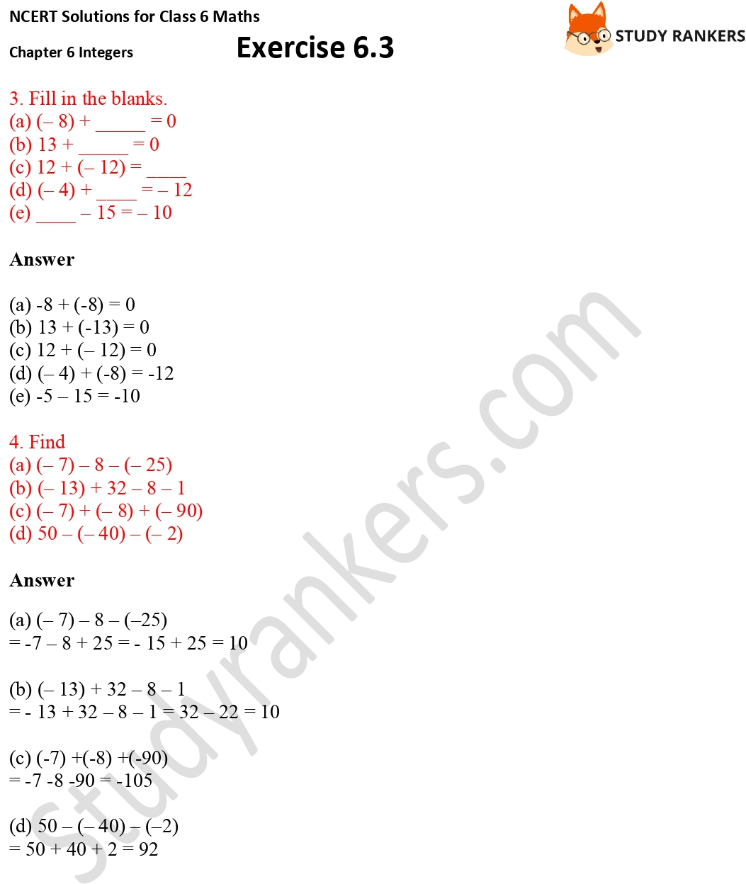 NCERT Solutions for Class 6 Maths Chapter 6 Integers Exercise 6.3 Part 2