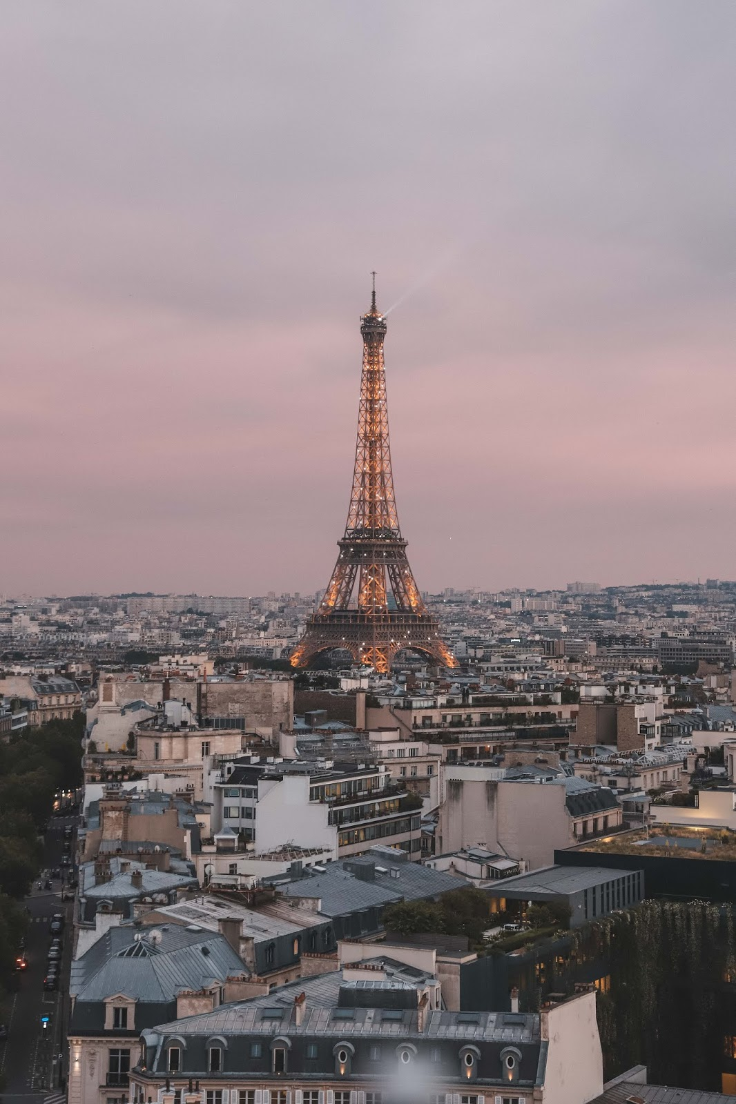 Sunset view from the top of Arc du Triomphe