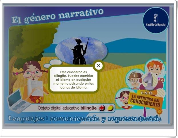 """El género narrativo"" (Aplicación interactiva bilingüe de Lengua Castellana de 1º de Secundaria)"