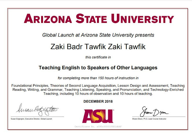 I also studied TESOL at Arizona State University, USA