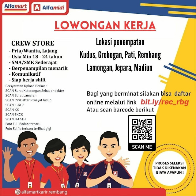 Lowongan Kerja Crew Store Alfamart Penempatan Rembang Kudus Grobogan Pati Lamongan Jepara Madiun