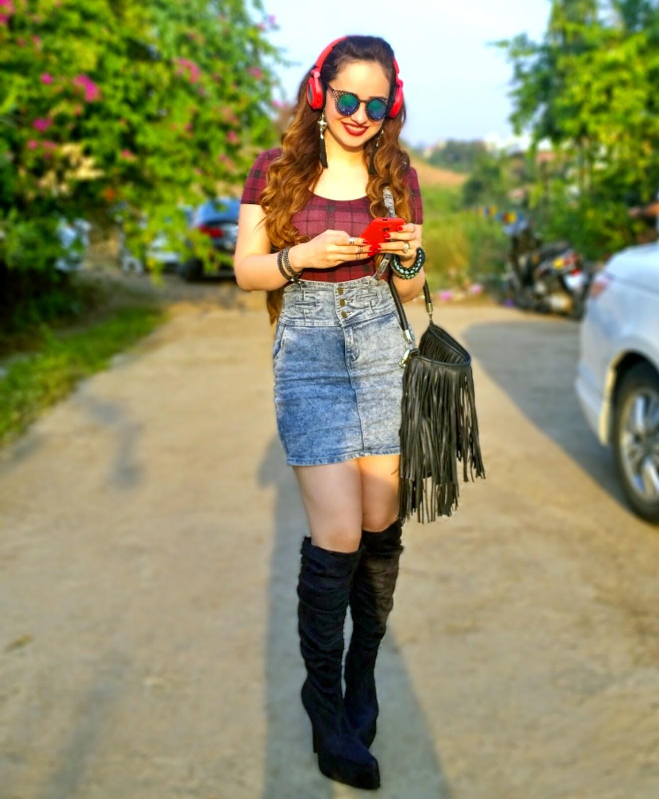 Tartan Plaid Crop Top,Denim Suspender Skirt,Over the knee boots,JBL Wireless Headphones