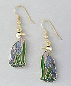 blue heron earrings fine enamel