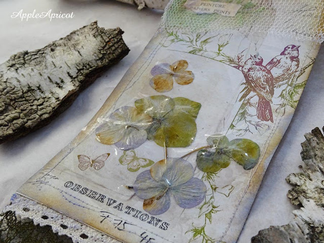 detail of mixed media tag Early Spring by AppleApricot