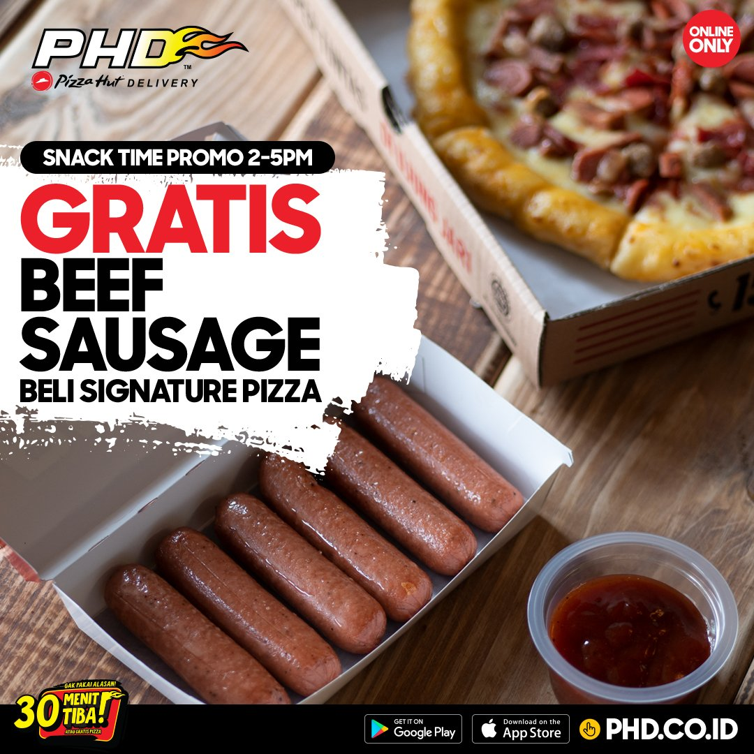 PHD - Promo GRATIS 1 snack favourite Beef sausage, shrimp tempura atau pepchiz