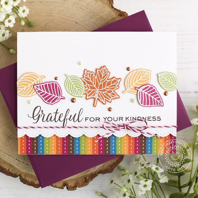 Sunny Studio Stamps: Elegant Leaves Stitched Scallop Dies Autumn Themed Grateful Card by Leanne West