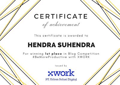 Sertifikat Lomba Blog XWork