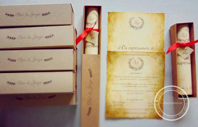 Invitaciones de boda hechas a medida, diferentes y con encanto
