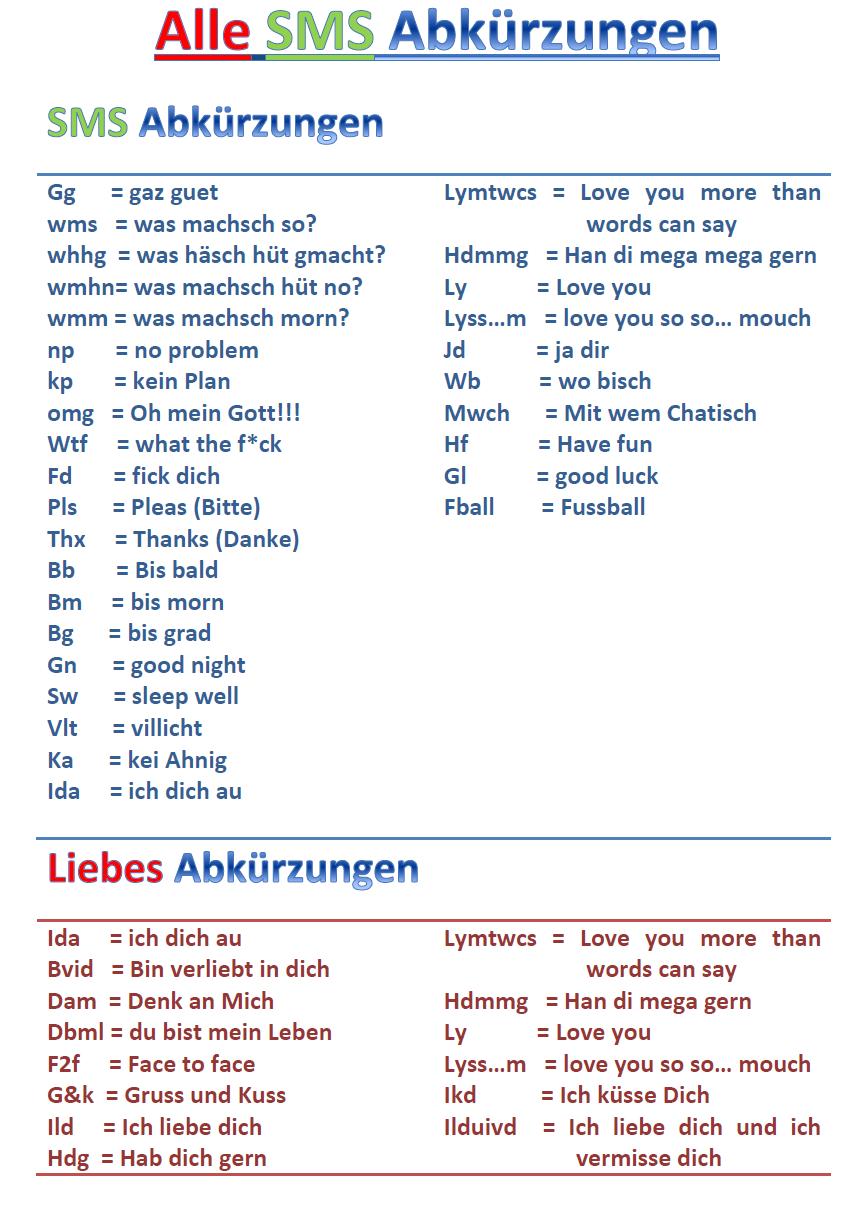 Sms Sprache Abkürzungen