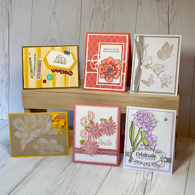 Six cards we'll make in the August 18 2019 Crafts and Good Company Card Class