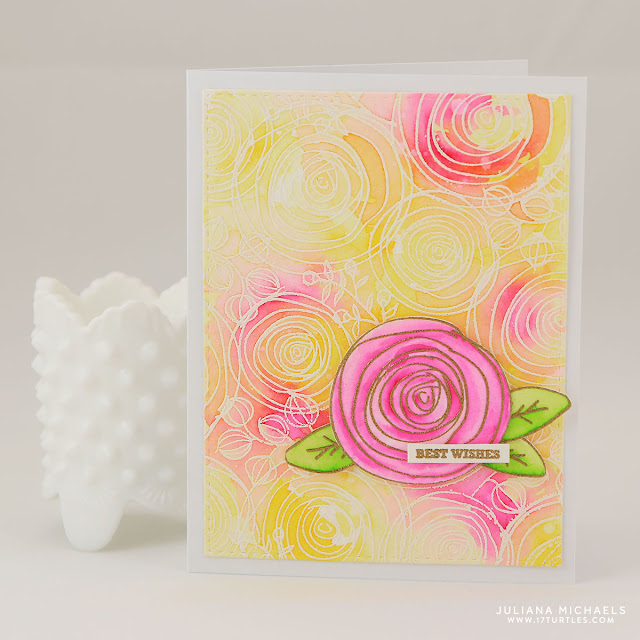 Best Wishes card by Juliana Michaels featuring Simon Says Stamp Sketch Ranunculus Stamp Set and Zig Clean Color Real Brush Markers