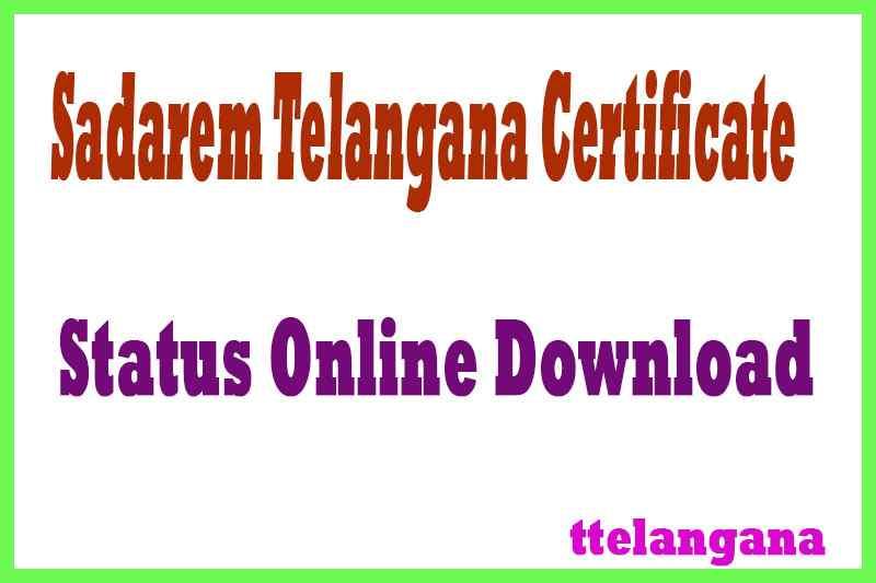 Sadarem Telangana Certificate Status SADAREM ID Registration Disability Certificate status