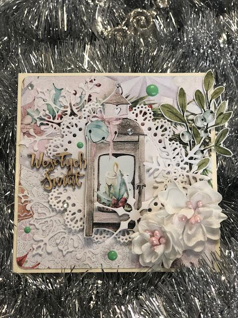 Kartka z Lampionem i Kwiatami z Foamiranu