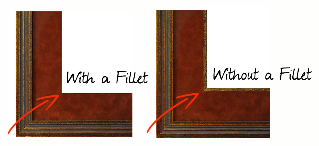 a fillet is a tiny frame added to a custom mat to match a custom frame you can ask our frame shop about fillets for this project