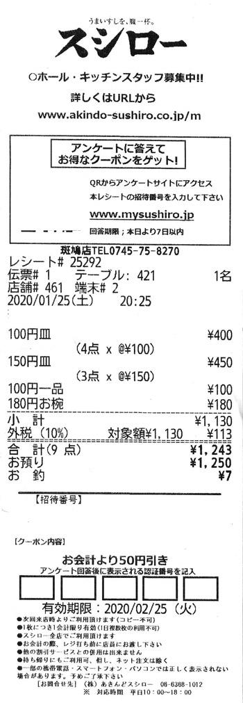 スシロー 斑鳩店 2020/1/25 のレシート